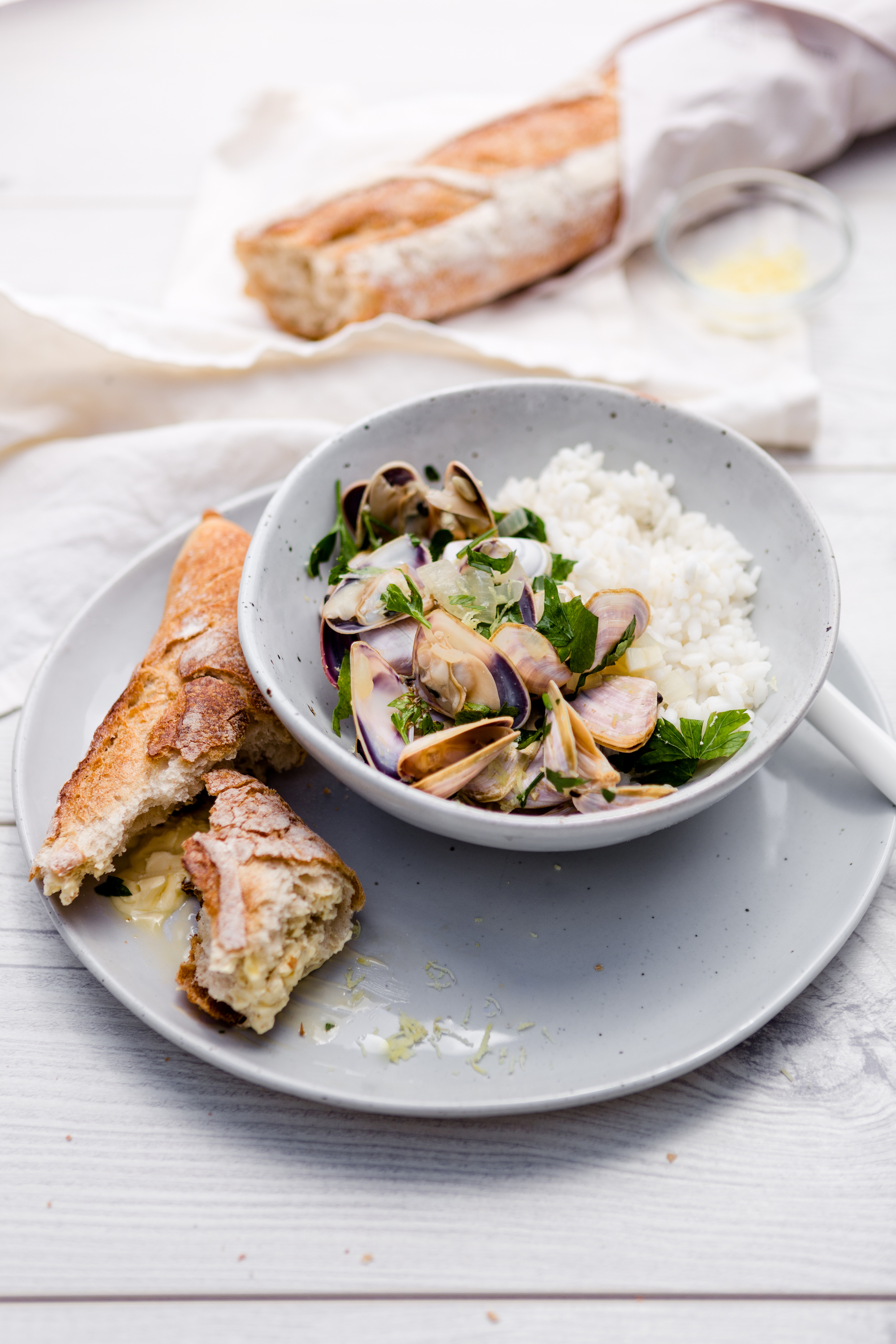 Pipis with rice lemon and parsley