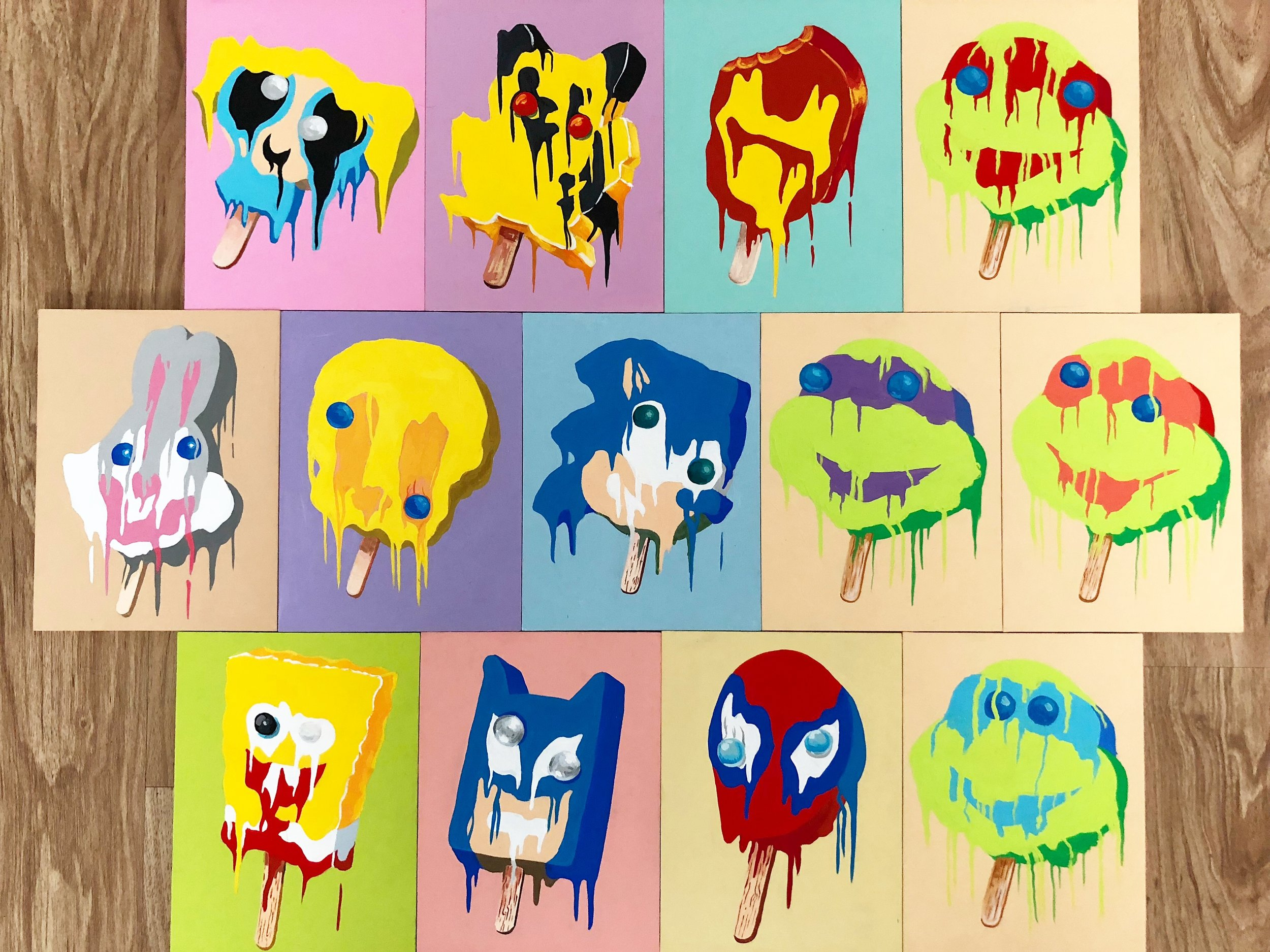 Fading out or melting out, but not forgotten! Ice Cream that was apart of every 90's kids diet. Painting them just like how everyone remembers, to feed peoples nostalgia.