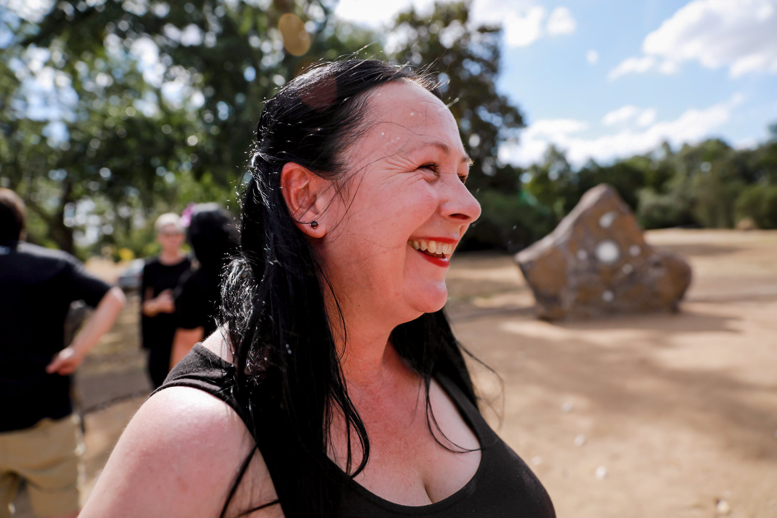 Artist Deanne Gilson at the opening of the Murrup Laarr (Ancestral Stones) - photo  Yum Studio