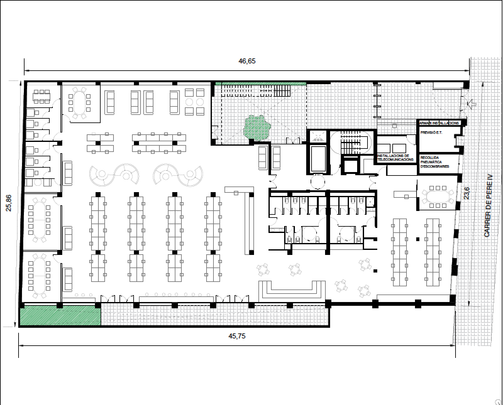 Single tenantLow density - Approx 358 workstations - 10m2/workstation(Max building occupancy 710 people)
