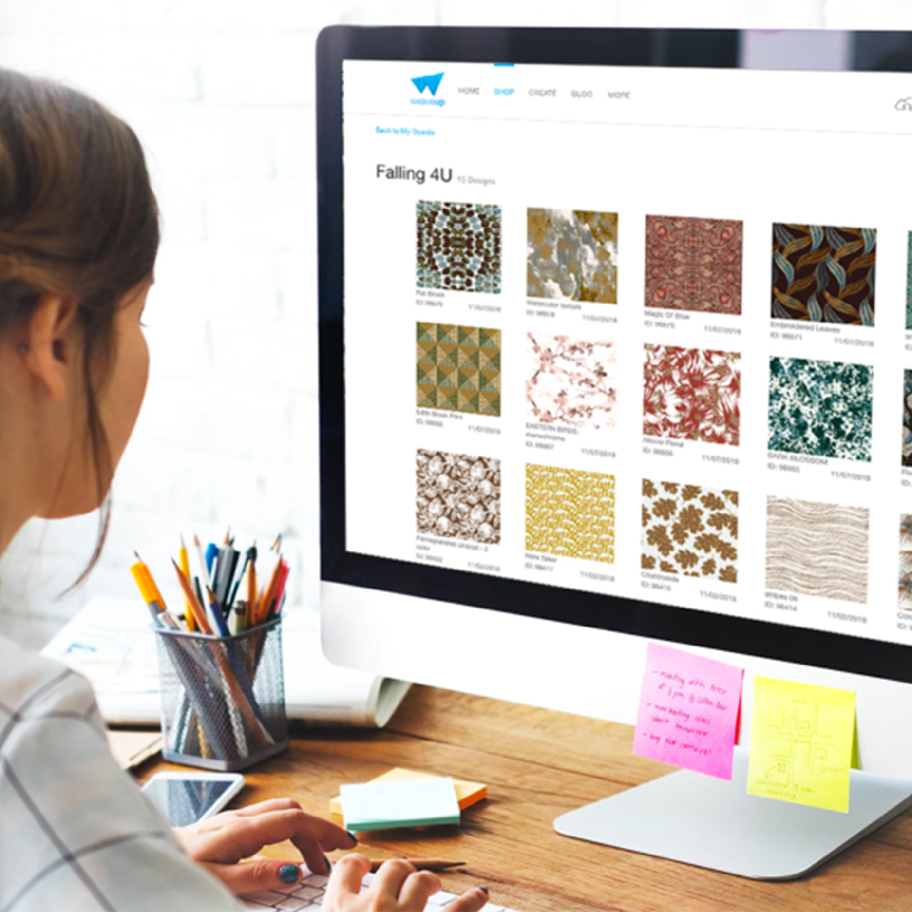 What is WeaveUp? The answer to this question is different depending on who you are. If you are a designer, WeaveUp is a platform that connects you with large companies around the globe and helps you earn royalties for your selected work. If you are a printing company, WeaveUp provides you with a software to improve your workflow. Lastly, if you are a fabric aficionado, it's a website where you can customize designs and order fabrics to your heart's content. To explain all of these things in a more detailed manner, I designed and built  WeaveUp Business Solutions.