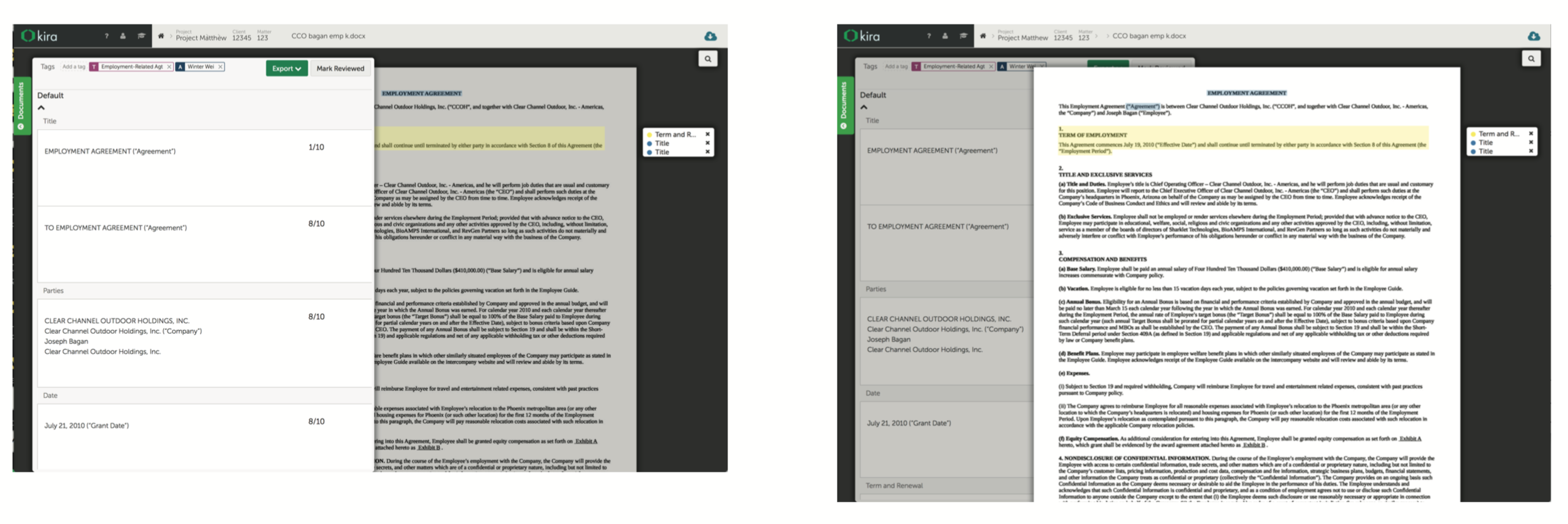 The previous version of document viewer, where the document and summary pane overlay on top of each other as a solution to responsiveness. This creates some usability and aesthetic issues.