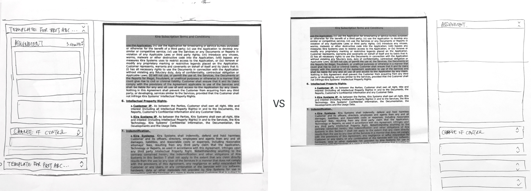 Testing the layout with paper prototypes — turns out document on the left and summary on the right feels more familiar for people.