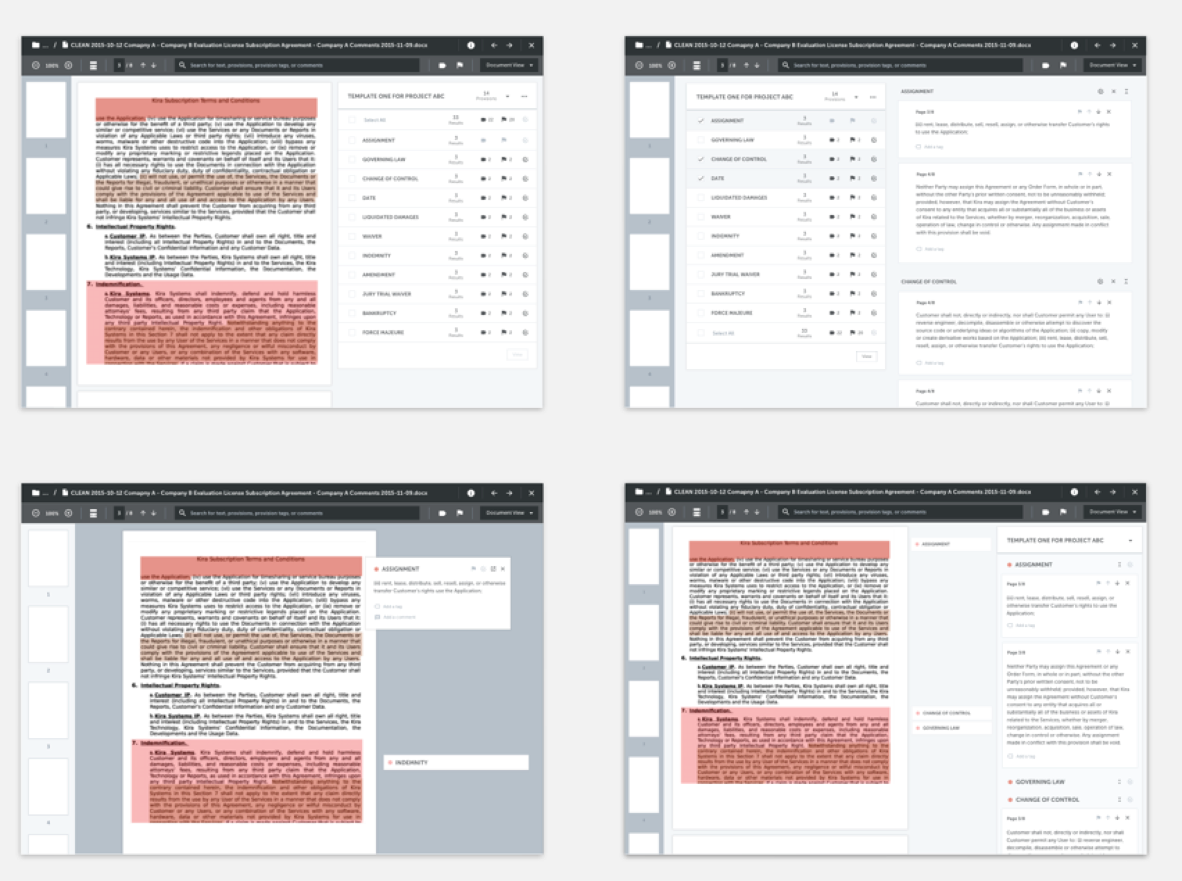 Some early mockups exploring different view modes in Document Viewer including full-page document view and summary view.