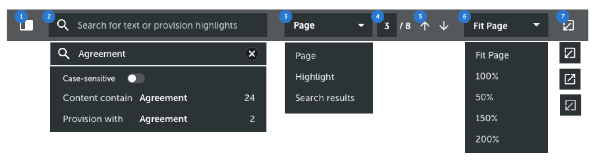The toolbar in the Document Pane. Many different types of functionalities need to fit into half of the screen width.