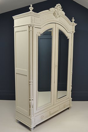 Large Antique Shaded White Knock Down French Henri Ii Style Mirrored Armoire Christian Lawrence Interiors