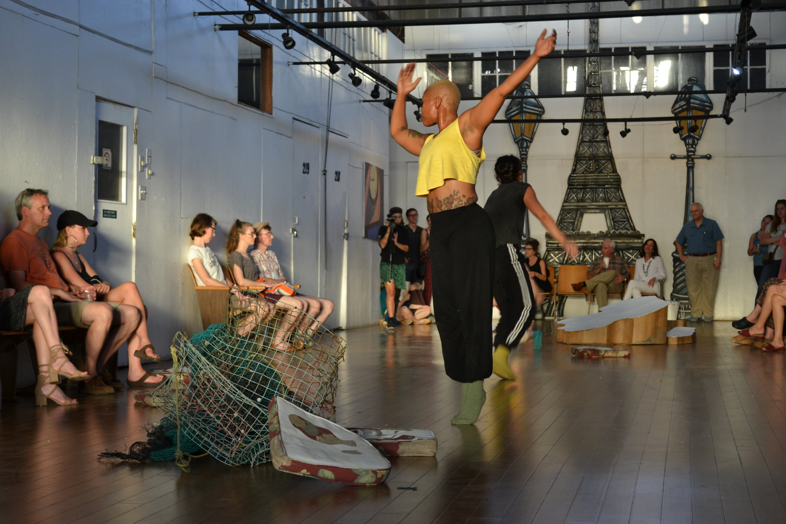 "Dewuan Frances and Rebecca Allen perform ""Secret Beach,"" an improvised performance in space with Nelson's sculptures"