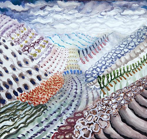 """Lago di Como, 10 12 x 12"""", Watercolor and gouache on paper, 2017"""