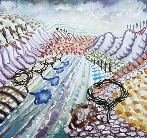 """Lago di Como, 8 12 x 12"""", Watercolor and gouache on paper, 2017"""