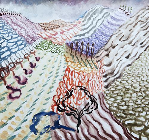"""Lago di Como, 9 12 x 12"""", Watercolor and gouache on paper, 2017"""