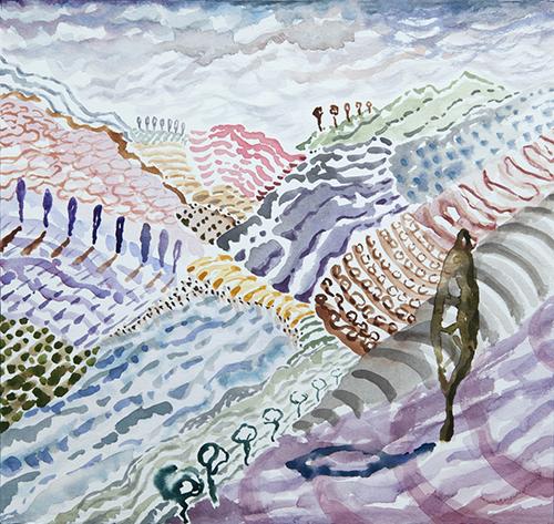 """Lago di Como, 7 12 x 12"""", Watercolor and gouache on paper, 2017"""
