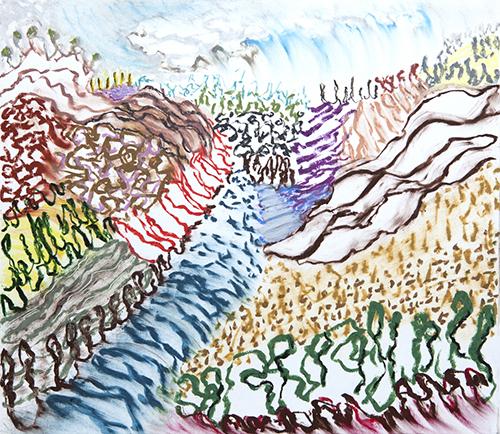 """Lago di Como, 12 11 x 12.5"""", Oil pastel on paper, 2017"""