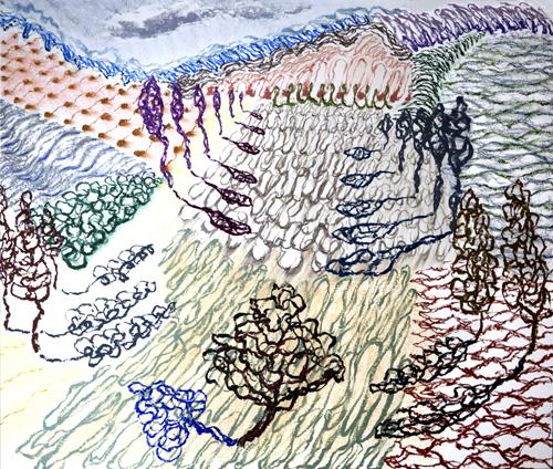 "Olana, 3,  Oil pastel on paper, 28"" x 33"", 2016"