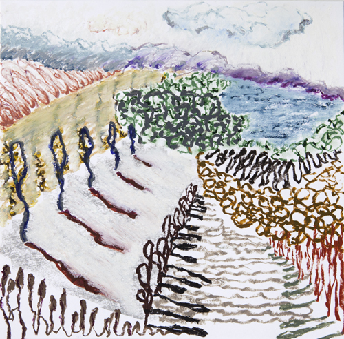 "Olana, 10,  Oil pastel on paper, 14"" x 15"", 2016"