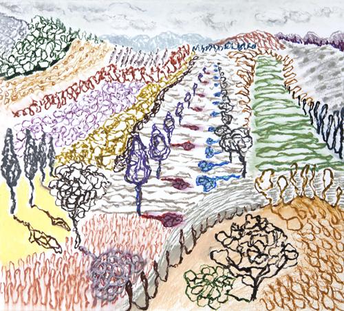 "Olana, 14,  Oil pastel on paper, 19"" x 21"", 2016"