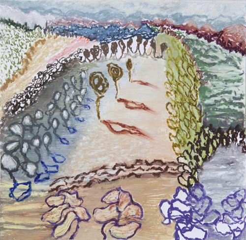 "Olana, 11,  Oil pastel on paper, 14"" x 15"", 2016"