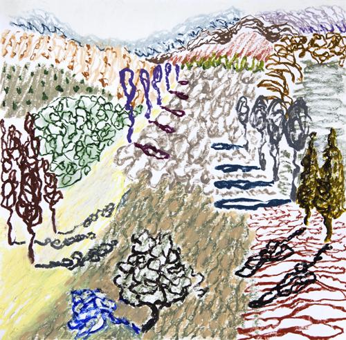 "Olana, 8,  Oil pastel on paper, 19"" x 21"", 2016"