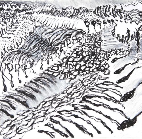 "Olana, 9,  Oil pastel on paper, 14"" x 15"", 2016"