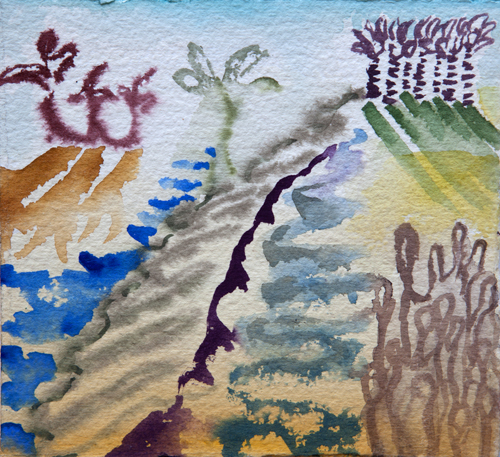 "Dream State, 15 6"" x 6"", Watercolor on paper, 2015"