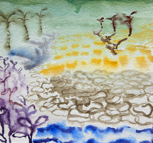 "Dream State, 18 6"" x 6"", Watercolor on paper, 2015"