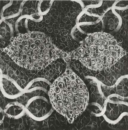 """Blood ,  40"""" x 40"""", Charcoal on Paper, 1996"""
