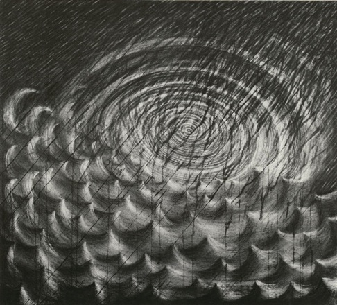 """Hail ,  40"""" x 45"""", Charcoal on Paper, 1996"""