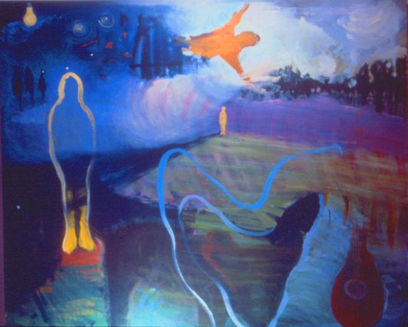 Skowhegan Night,   6' 5', Oil on Canvas