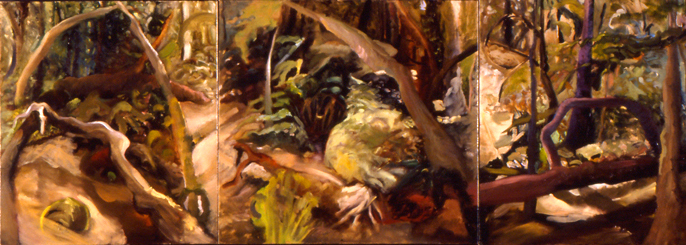 Bard Woods,   3' x 8' (triptych), Oil on Canvas
