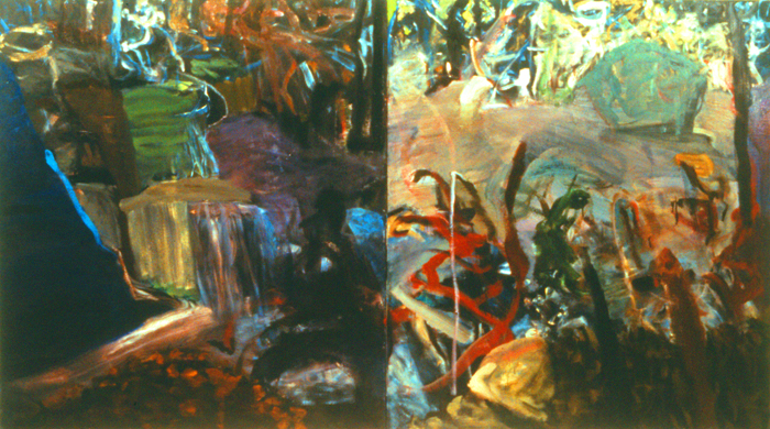 Night and Day (Bard Waterfall),   4' x 8', diptych, Oil on Canvas
