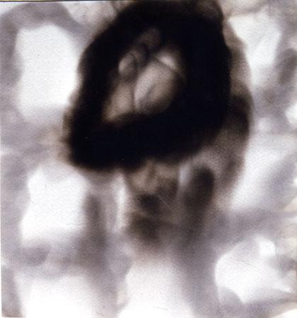 "Meditation # 4,  8"" x 8"", Candle Smoke on Paper, 1997"