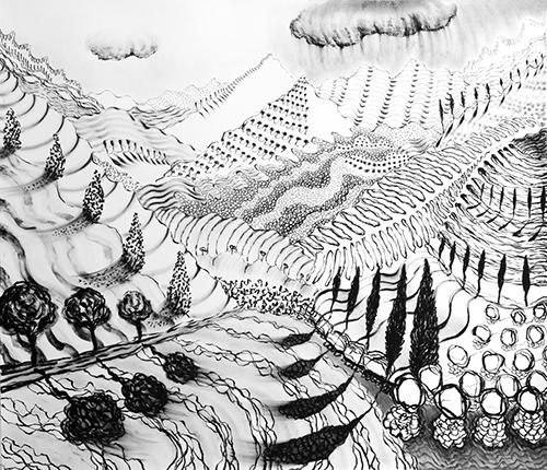 """Lago di Como , 22 55 x 64"""", Oil Pastel on Paper, 2018"""