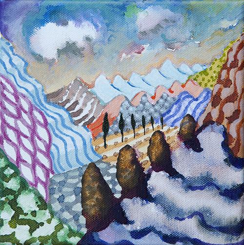 """Lago di Como ,  36  6 x 6"""", Acrylic on Canvas, 2018"""