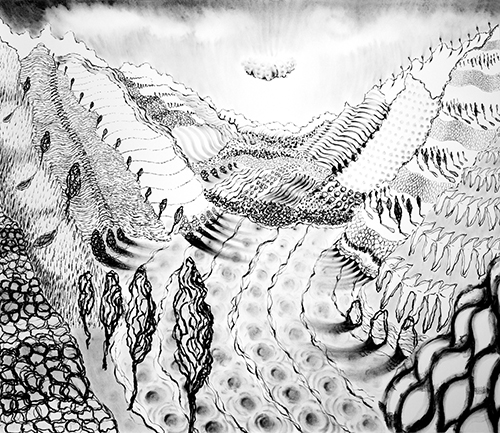 """Lago di Como ,  23  55 x 64"""", Oil Pastel on Paper, 2018"""