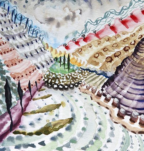 """Lago di Como ,  26  8 x 8"""", Watercolor and gouache on paper, 2018"""