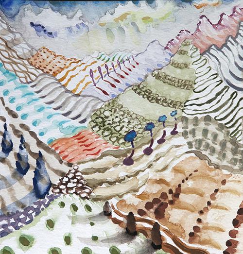 """Lago di Como ,  27  8 x 8"""", Watercolor and gouache on paper, 2018"""