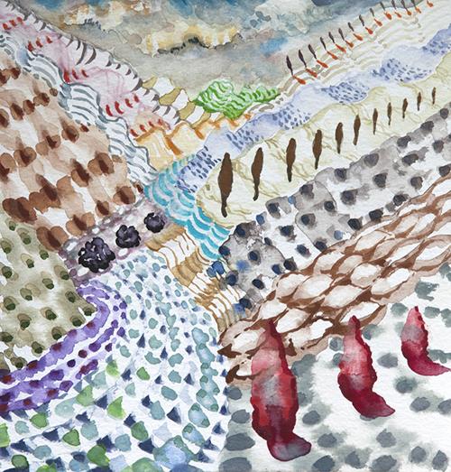 """Lago di Como ,  28  8 x 8"""", Watercolor and gouache on paper, 2018"""