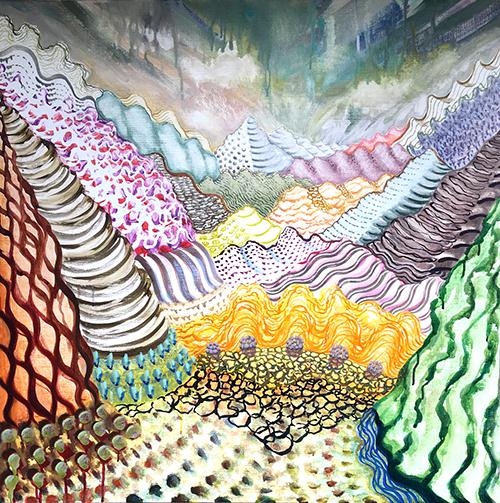 """Lago di Como ,  39  36 x 36"""", Acrylic on Canvas, 2019"""