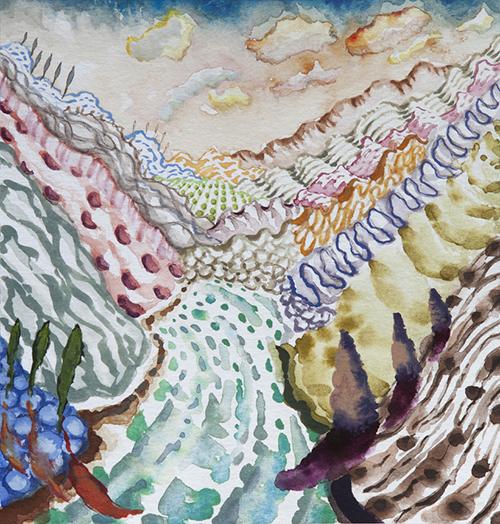 """Lago di Como ,  29  8 x 8"""", Watercolor and gouache on paper, 2018"""