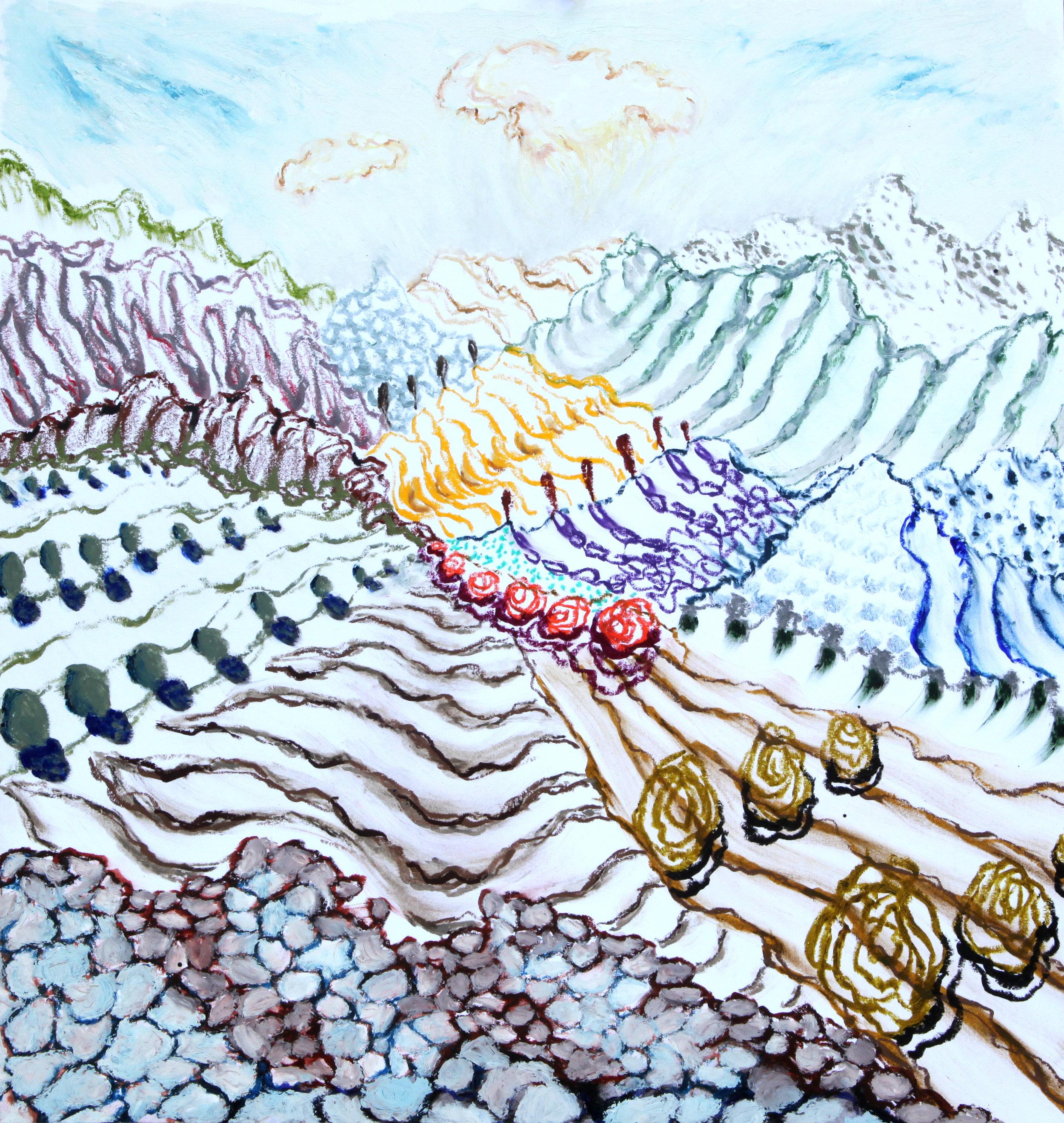 """Arles, 6  14x15""""  Oil pastel on paper  2019"""