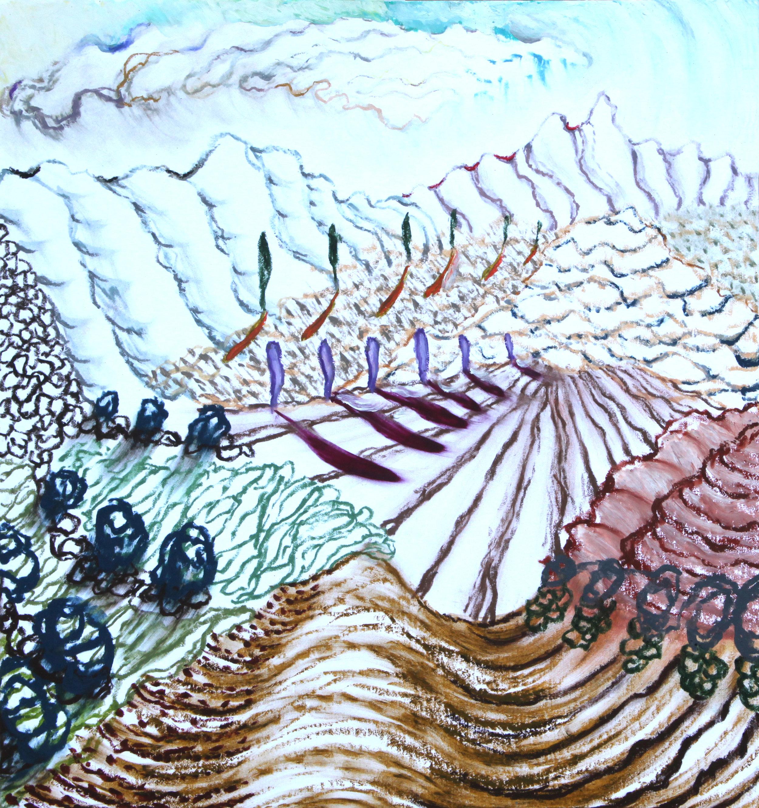 """Arles, 7  14x15""""  Oil pastel on paper  2019"""