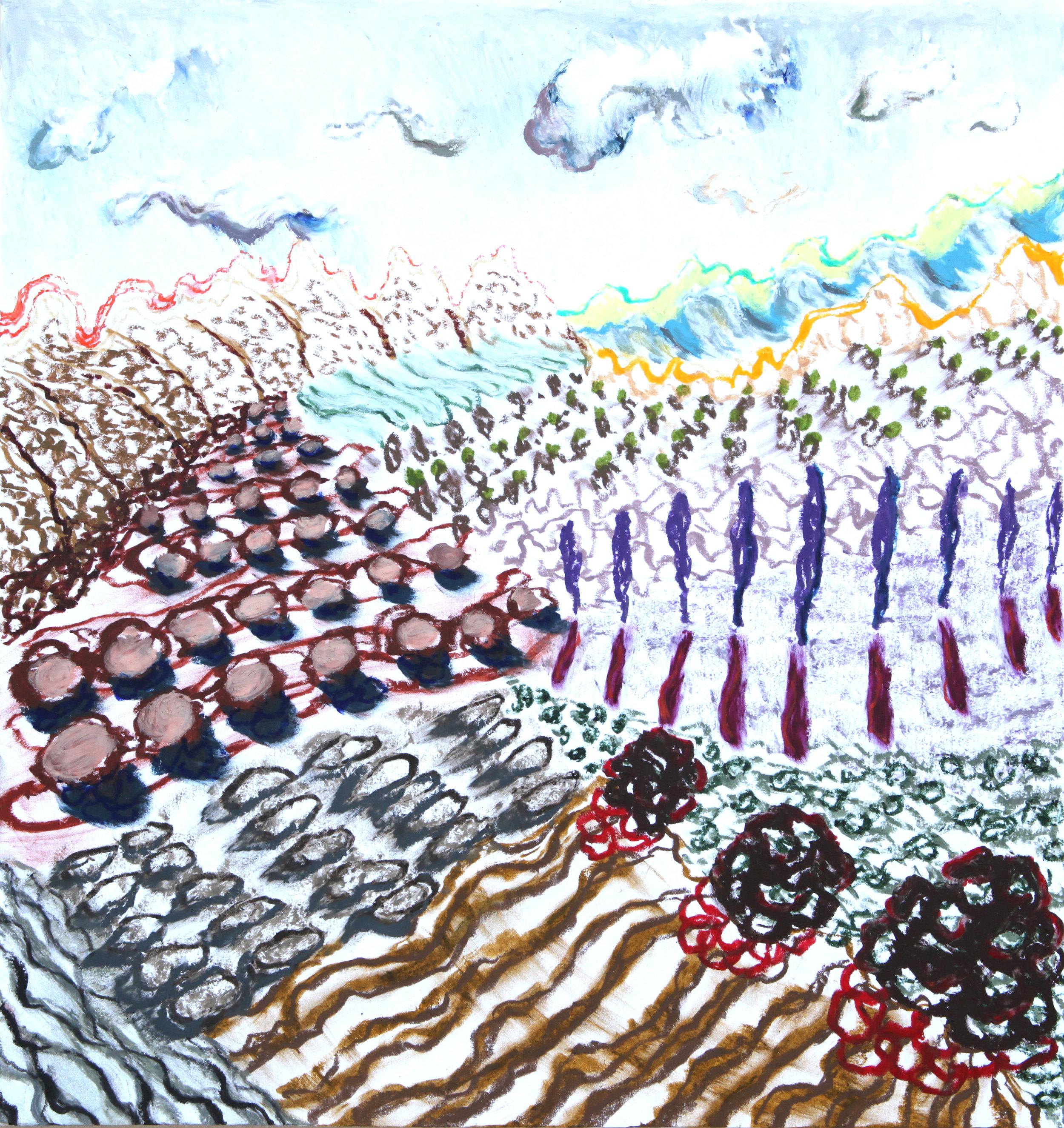 """Arles, 5  14x15""""  Oil pastel on paper  2019"""
