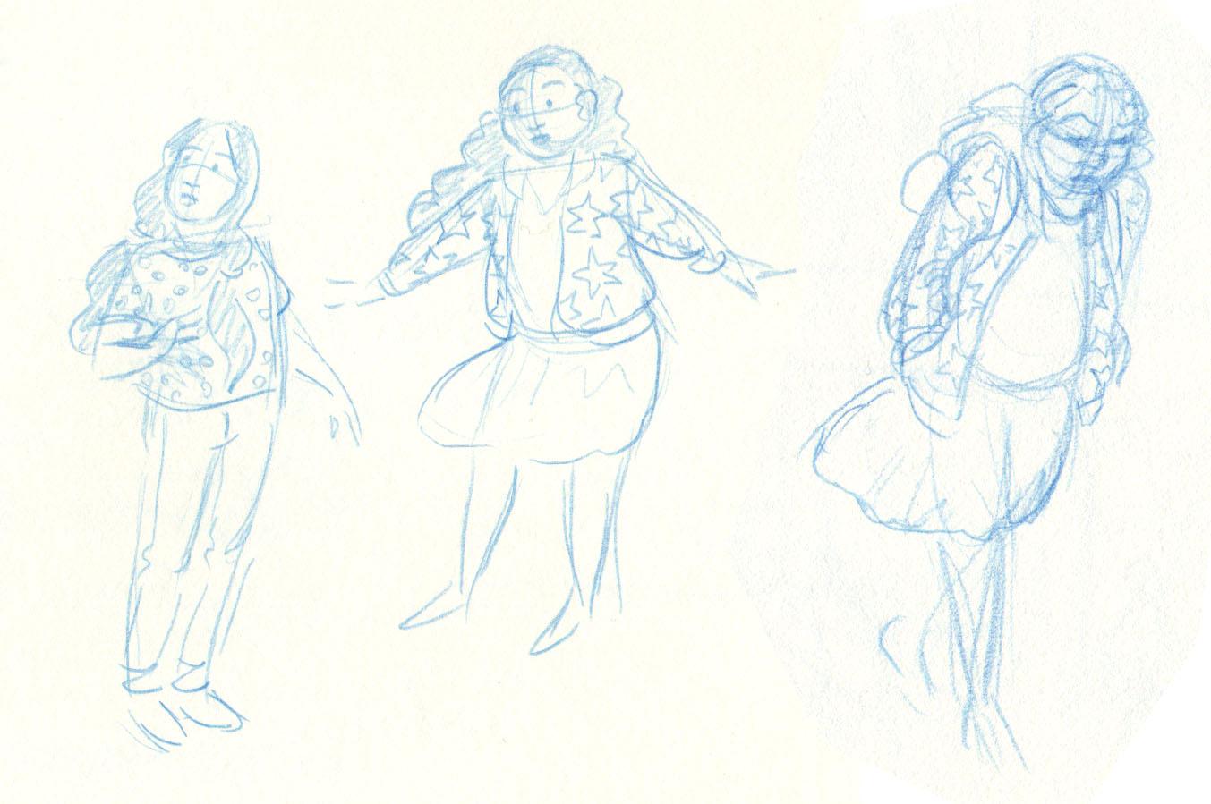 "Sample character sketches of Camila and Rosanna from ""Hurricane Magic"", 2019"