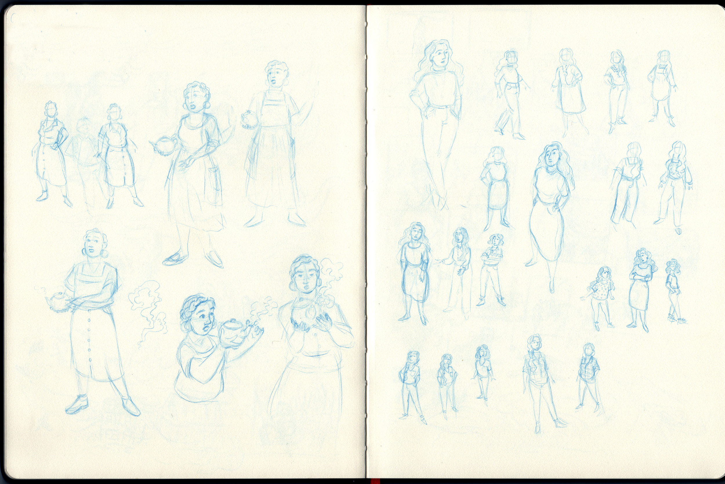 """Sample character sketches of teachers and family members from """"Hurricane Magic"""", 2019"""