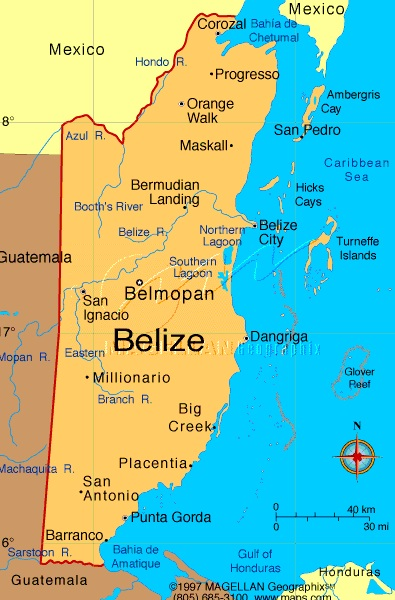 the country of belize - Belize is the smallest country in Central America both in physical size (8,867 square miles) and population (Roughly 380,000). Belize's economy is largely dependent on tourism, and particularly marine based tourism. It's coast (roughly 240 miles long), is home to the the largest reef system in our hemisphere (the Meso-American Reef) which includes three of this hemispheres four coral Atolls. Belize is the only Central American country that doesn't connect to the Pacific Ocean.