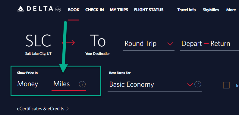 buying delta flights with miles