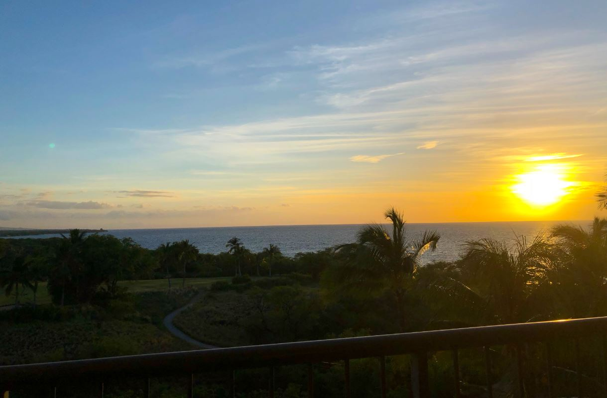 Kelly and I enjoying a sunset on our balcony at the    Westin Hapuna Beach Resort