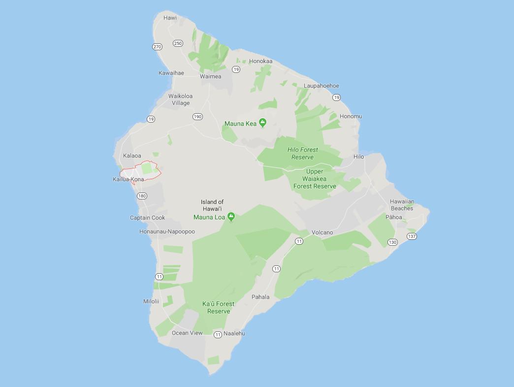 map of big island hawaii