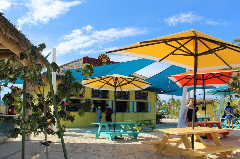 There are two Snack Shacks located throughout the island (Thrill Waterpark and Oasis Lagoon). The Snack Shack opens at 11:00am and stays open until the end of the day. This is a great place to grab a quick bite to eat or hydrate.