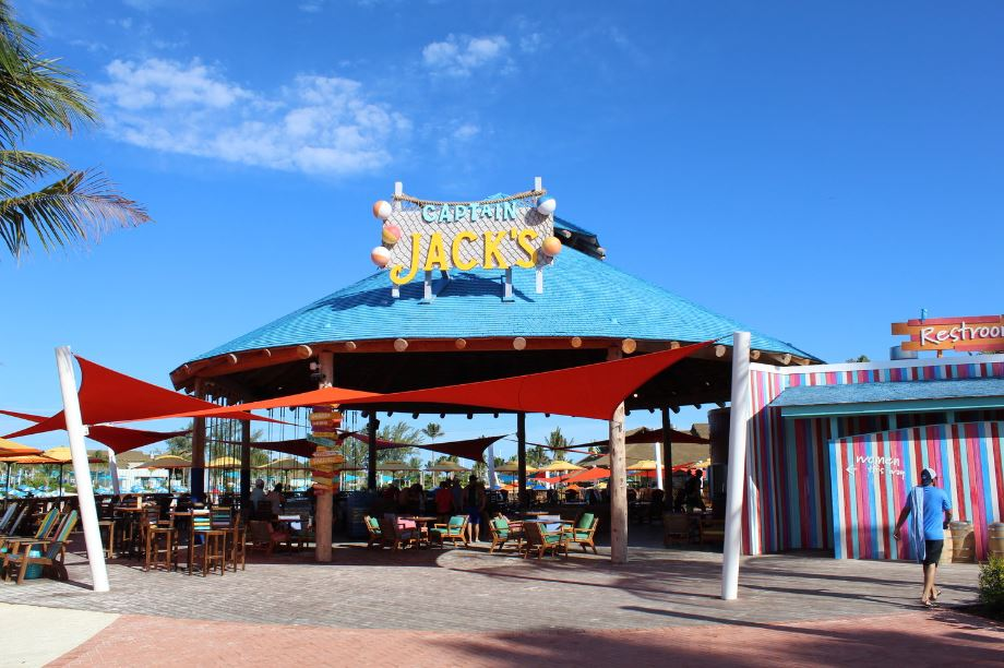Grab a topical drink at the rowboat bar and enjoy the fun of a rope swing seat. Hungry? Try the house special — chicken wings and fries dipped in mango-habanero and Caribbean jerk sauces. Live jams and water views will put you on island time at Captain Jack's. Note that extra charges may apply when drinking or dining at Captain Jack's.
