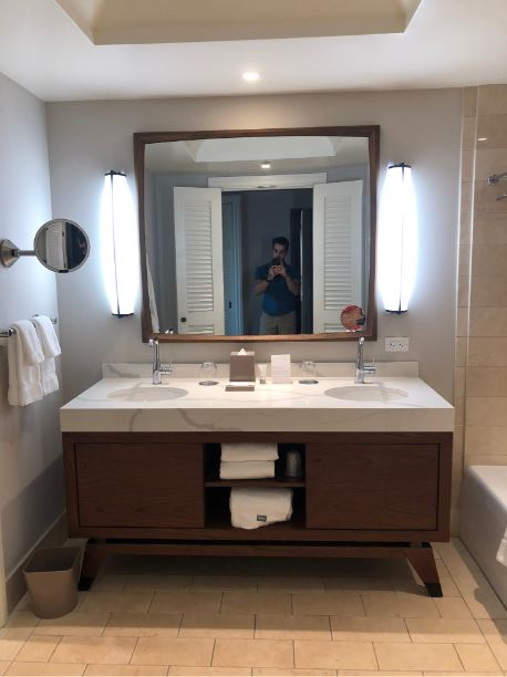 Clean, fancy bathrooms with double-sinks to keep your marriage alive and well. :)